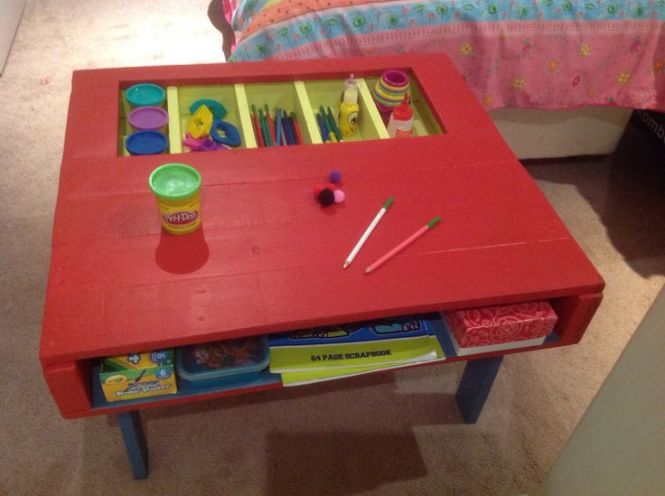 Kids craft table made from recycled pallet wood. Painted three different colours. Made by Touchwood Creations.