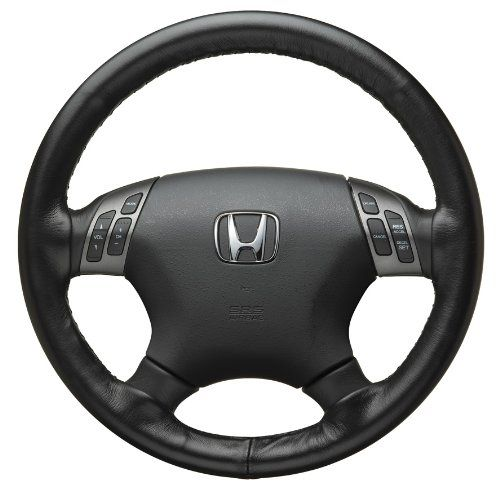 Honda Genuine Factory Leather Steering Wheel Cover - 08U98-SNA-101; 2006 to 2008 Civic 4 Door A quality leather offers the ultimate in driving comfort. It insulates against temperature extremes and gives a sporty, gripping feel to your steering wheel. Top grade leather for an attractive look, great feel and proven durability. Fade/shrink resistant thanks to Honda's special testing, to help keep it... #Honda #Automotive_Parts_and_Accessories