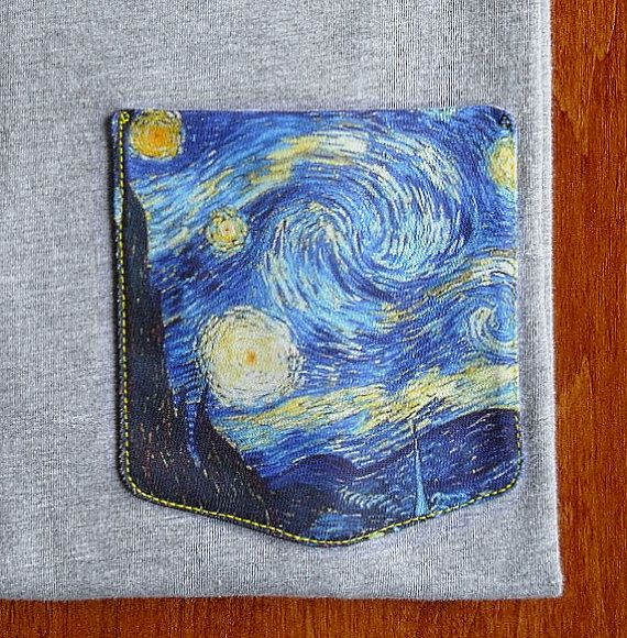 Vincent Van Gogh Starry Night Pocket Shirts by GrayClothing