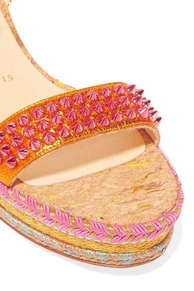 Christian Louboutin - Madmonica 60 Studded Metallic Textured-leather Espadrille Sandals - Gold - IT41