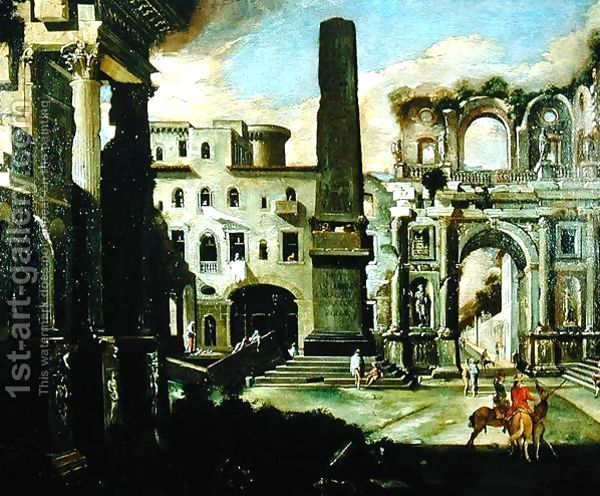 Town Scene in Italy with Ancient Ruins by Viviano Codazzi