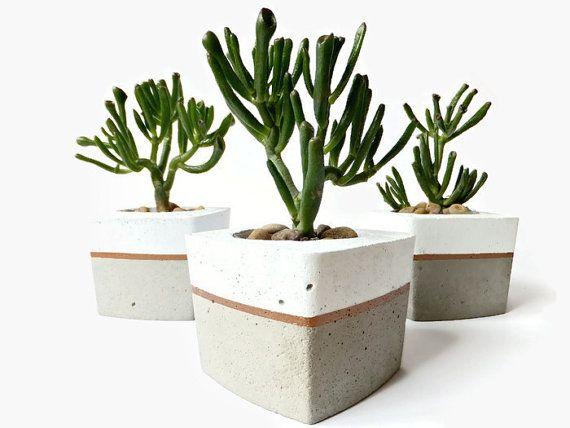 Concrete Succulent Flower Pot White Grey Urban Industrial Planter Home Decor