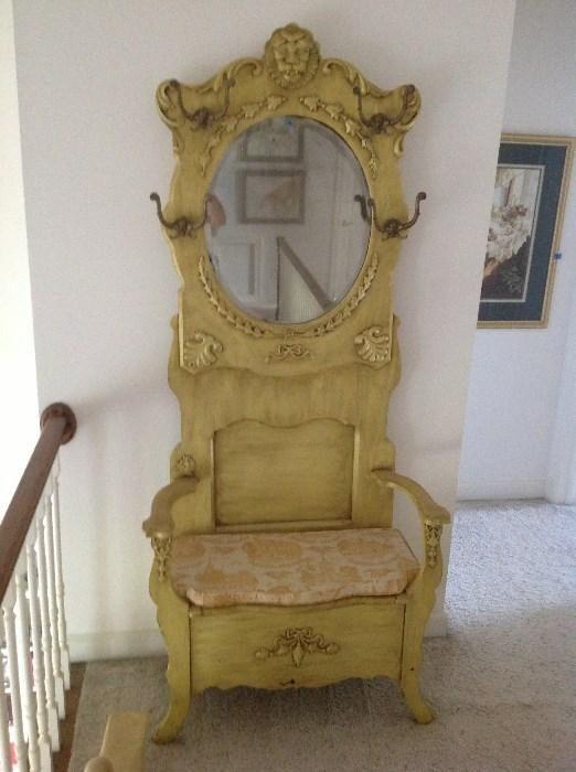 Found on EstateSales.NET: Antique hall tree / mirror $ 400.00