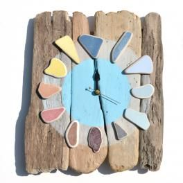 driftwood and sea pottery clock - click to view