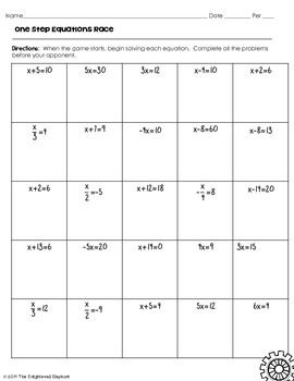 One Step Equations Race Game Algebra I One Step Equations 8th