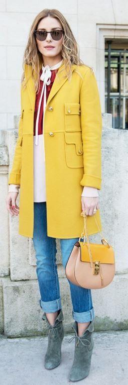 Olivia Palermo: Sunglasses – Westward\\Leaning  Coat and shirt – Valentino  Purse – Chloe  Jeans – Paige  Shoes -Aquazurra x Olivia Palermo