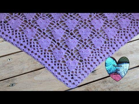 Crochet : Punto Soles en V - YouTube
