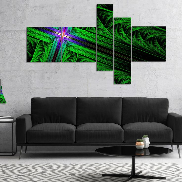 Designart 'Green Fractal Cross Design' Abstract Canvas Art Print
