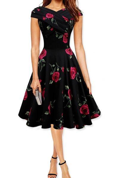 Pin: www.sieradenschilderijenatelierjose.com Chic+Rose+Printing+A-line+Dress