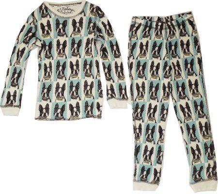 Pj Salvage Blue Thermal Boston Terrier Pajama Set Amazon