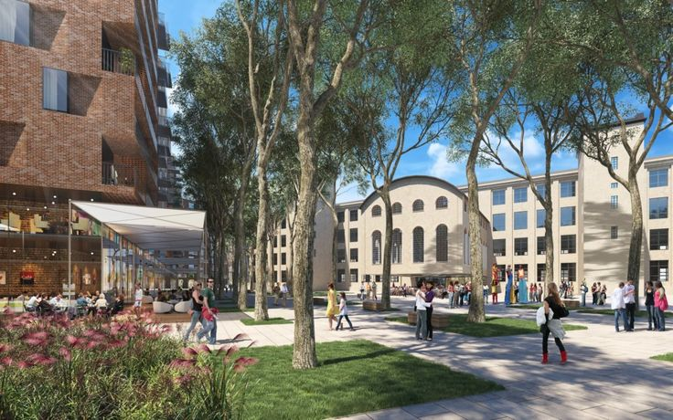 Víťazný návrh ráta so zachovaním Silocentrály, ktorá by sa mala stať vstupnou bránou do budovy Pradiarne. Vizualizácia - Compass Architekti