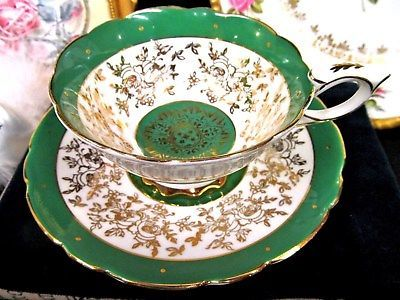 ROYAL STAFFORD TEA CUP AND SAUCER GREEN & GOLD GILT SCROLLS PATTERN TEACUP WIDE