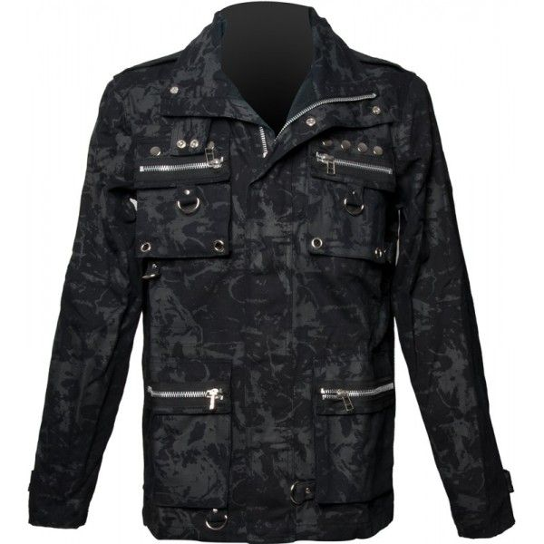 Gothic army style zipper jacket from Queen of Darkness latest clothing range, with greyish camo print, safari style front pockets, zipper detail, d-ring ornaments and rivets.