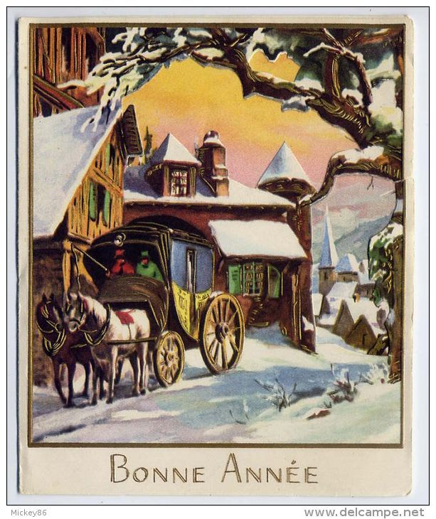 Nouvel An--Bonne Année--carte Triple--attelage Chevaux-paysage Neige-format  110mm X  135mm N°2665C éd MD - Nouvel An