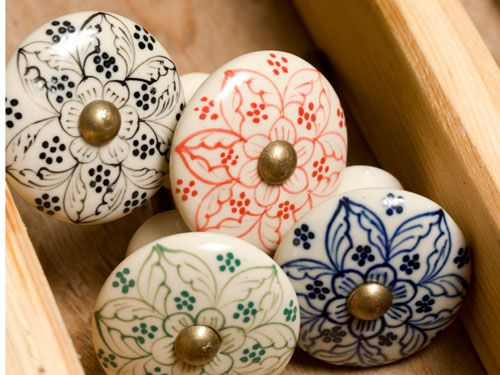 These intricately designed Daha Door Knobs ($8 per knob) are hand-painted and are an easy way to add a splash of color to any room. #holidays #gifts #home