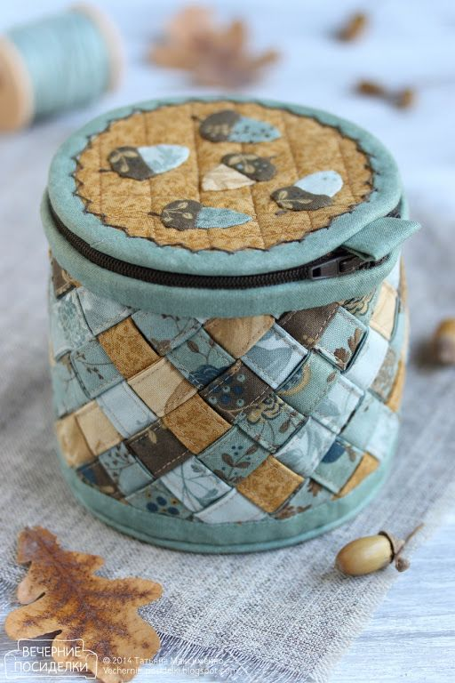 Basket con ghiande / Basket con ghiande - incontri serali diametro 11 cm altezza 10 cm  coperchio rigido