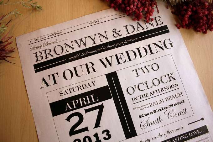 Wedding Invitation Newspaper Style Template