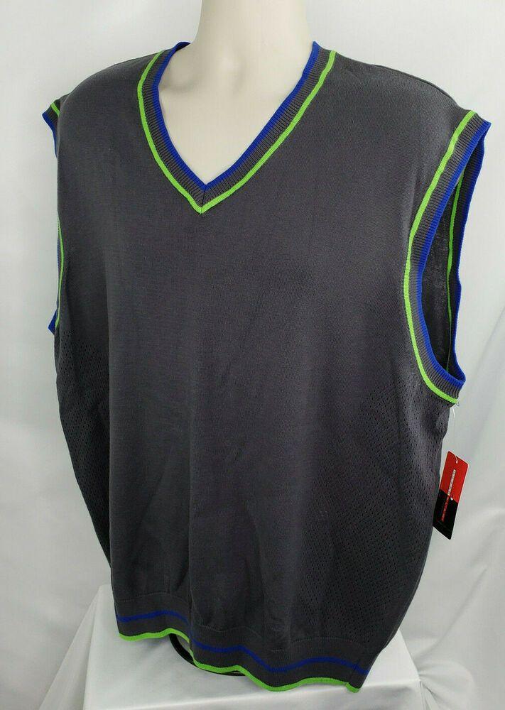 Grand Slam V Neck Golf Vest Mens Xxl Gray Nwt Grandslam Activewearlongsleeve Activewear In 2020 Mens Golf Outfit Golf Outfit Golf Vest