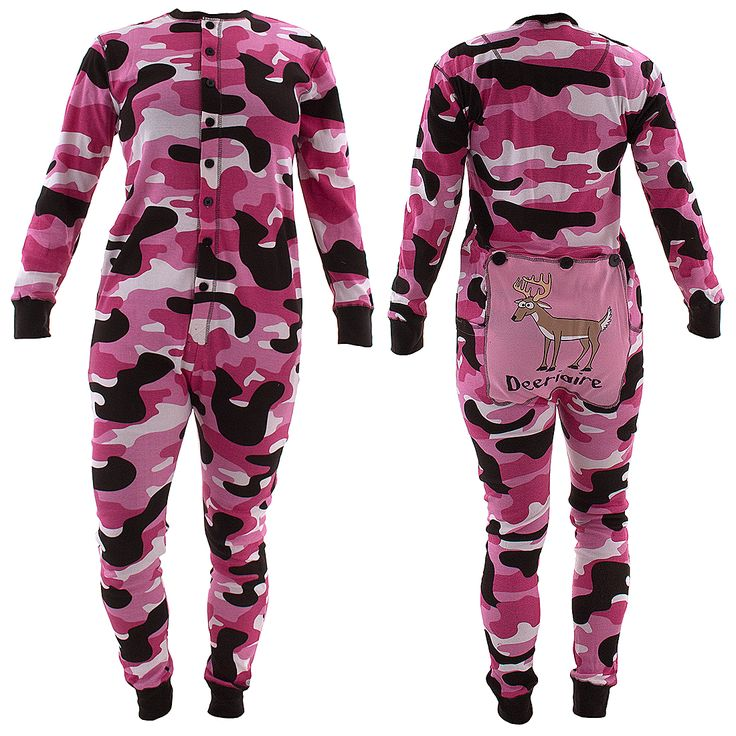 Lazy One Pink Deariaire Union Suit for Women - She'll love this pink camo cotton union suit. Check out the coordinating union suit for men.