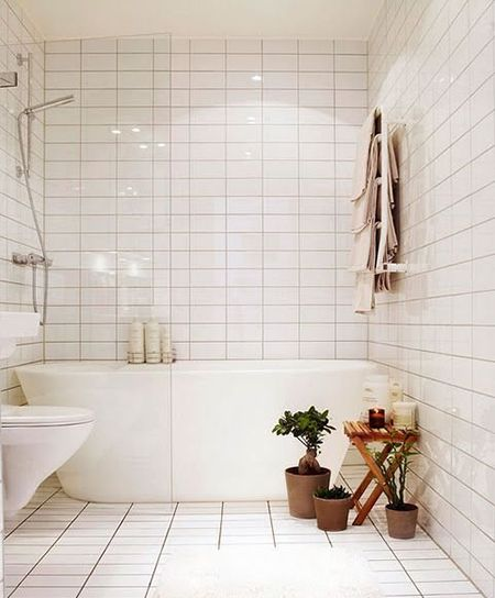 bathroom white subway tiles