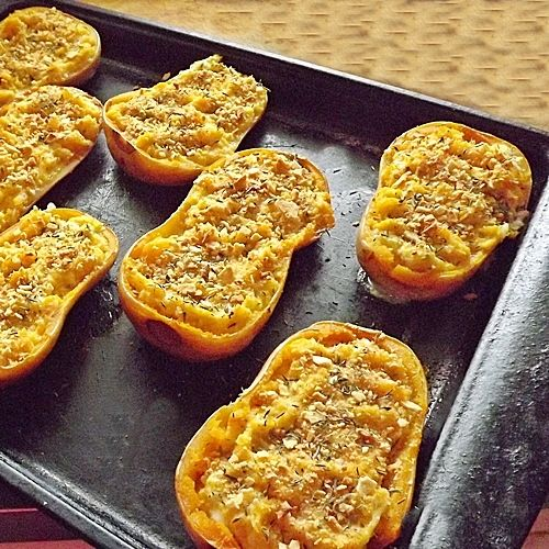 Twice Baked Butternut Squash. (This sounds  so good I may actually learn to like squash!  -D)