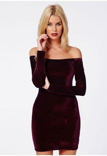 Rorry Velvet Bardot Bodycon Dress Burgundy - Dresses - Bodycon Dresses - Missguided
