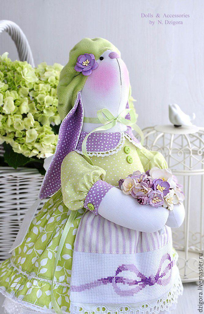 Купить Весенняя зайка Fleur / Флёр - салатовый, зайка игрушка, зайка, зайка текстильная