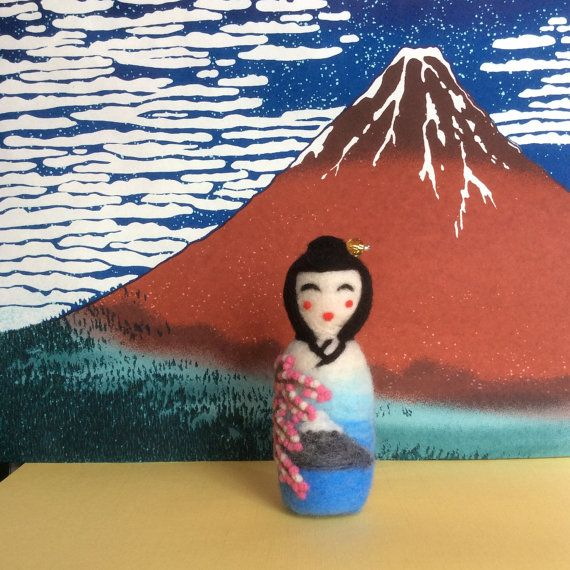 Sakura Needle felted japanese style Kokeshi doll. by SweetPeaDolls