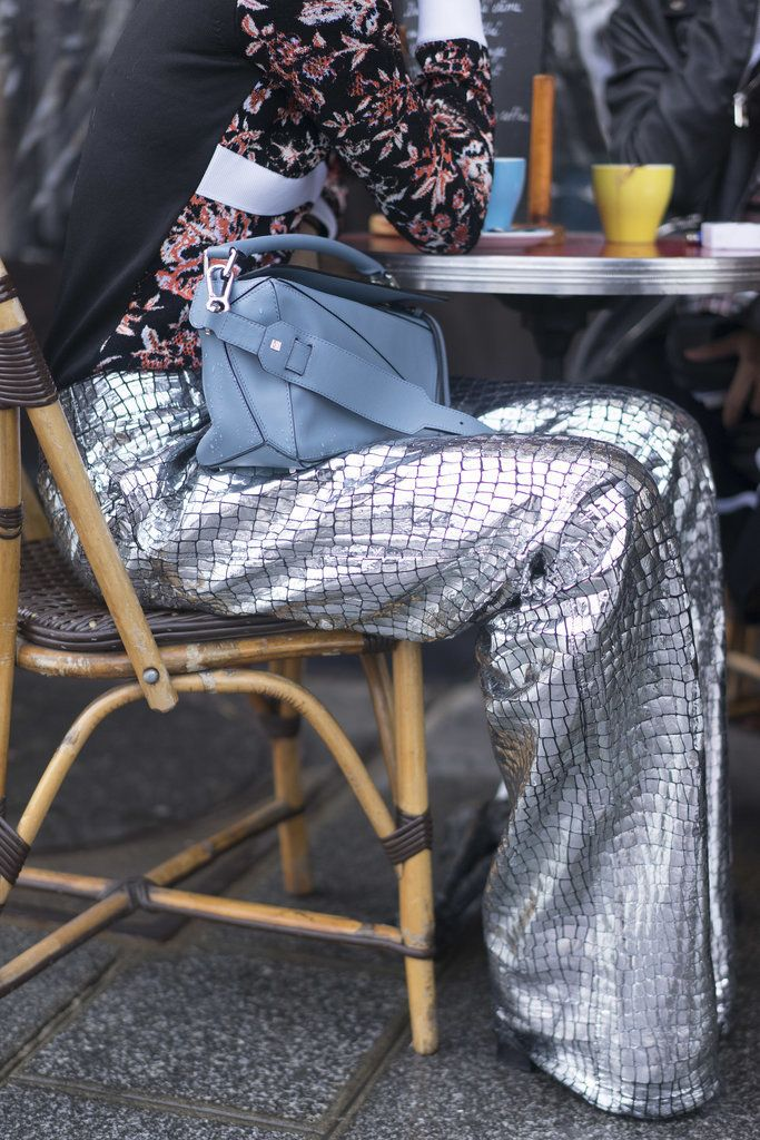 Paris Fashion Week Street Style Fall 2016 | LOEWE Puzzle Bag and croc trousers