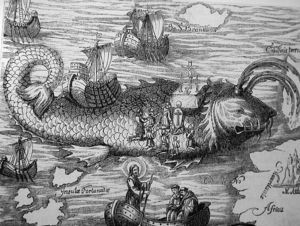"""May 16, c. 583. Death of St. Brendan the Navigator. Brendon is one of the Twelve Apostles of Ireland, and is said to have discovered the Garden of Eden on an island off northern Africa. In this picture, he's celebrating Mass on top of an island that turned out to be a giant fish. Later, his men started a fire on the """"island"""" and the fish woke up."""
