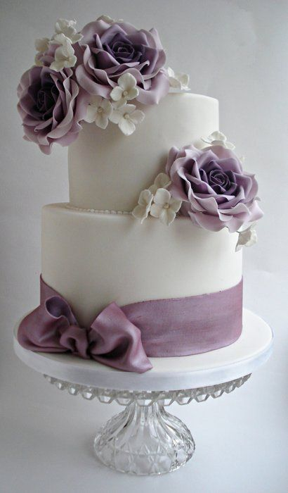 Lilac roses wedding cake   ~ all edible