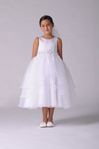 Flower Girl Dresses -   Us Angels Dress Style 320 - WHITE Satin and Organza Tiered Dress