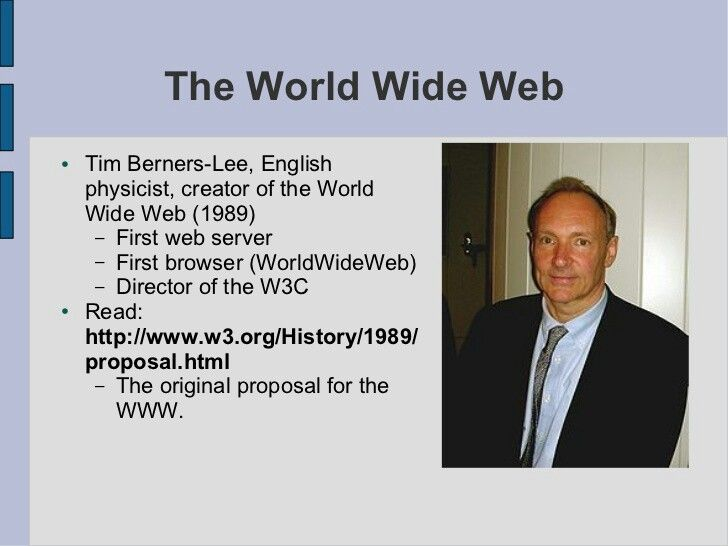 IL WORLD WIDE WEB - 1989 IlWorld Wide Web è uno dei principali servizi diInternetche permette di navigare e usufruire di un insieme vastissimo di contenuti amatoriali collegati tra loro attraverso legami e di ulteriori servizi accessibili a tutti o ad una parte selezionata degli utenti di Internet.