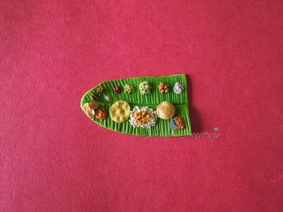 Indian food clay miniature - Ela sapadu ( handmade fridge magnet - collectible)