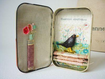 Cute vignette in a tin (hens teeth blog)
