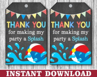 Pool Party Favor Tags Beach Ball Party by ZoeyBlueDesigns on Etsy