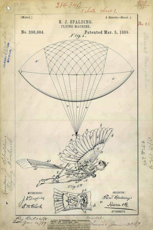 USA, 1889: Artwork showing a device invented by Reuben Spalding to allow a person to fly via the aid of a balloon and bird-like wings. It is not known whether a full scale version was ever made. A STASH of historic patents from the early 20th century show how aspiring inventors predicted that humans would FLY. The imaginative designs, from the US Patent and Trademark office, show elaborate blueprints for everything from 'human wings' to ësexual armourí. The patents, granted between 1871 and…