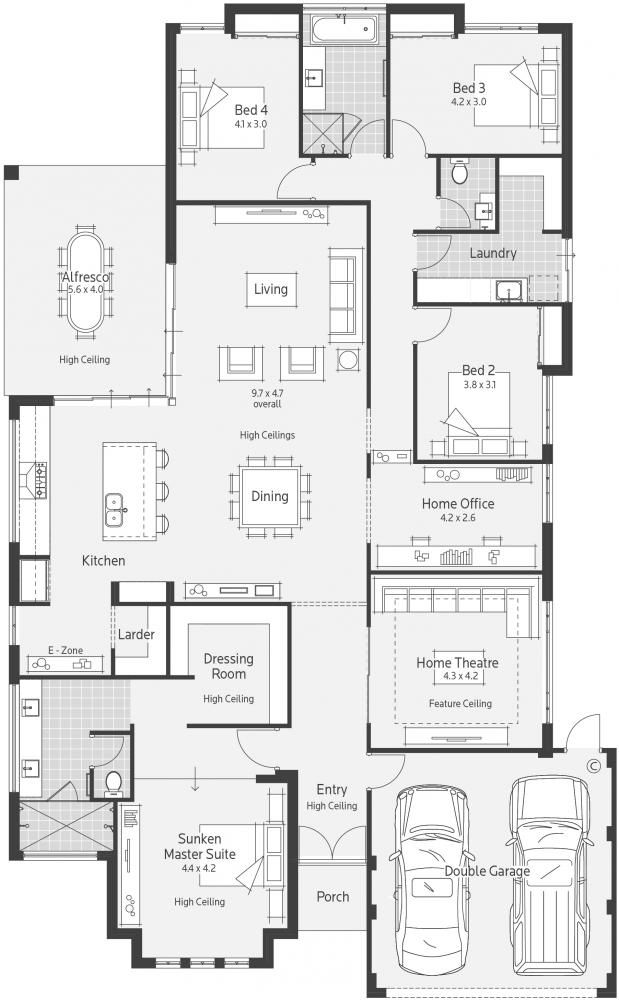 St. Ali Display Home - Lifestyle Floor Plan. I like the living area and think the kitchen could easily be changed to suit a square shape.