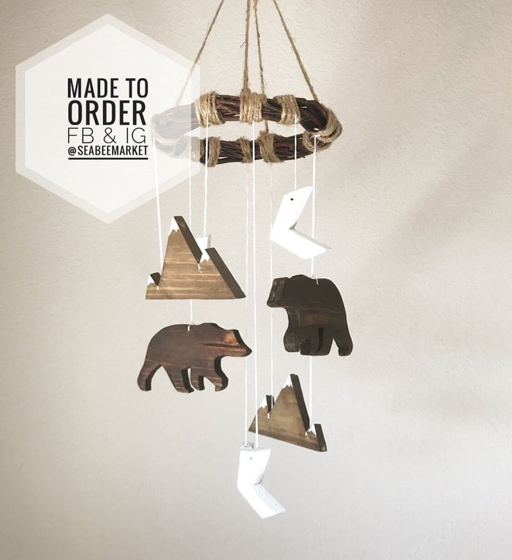 Bear and Mountain Wooden mobile for a woodland or rustic nursery. Works for gender neutral, boys, or girls. Unique, handmade, one of a kind. Orders can be placed through Instagram or Facebook - @seabeemarket. Thanks for looking!