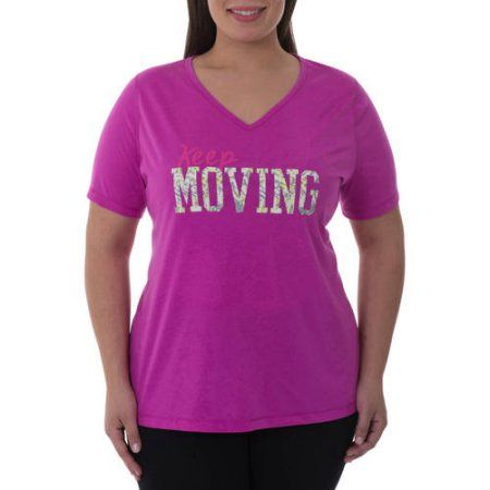 Danskin Now Women's Plus-Size Active Graphic Short Sleeve V-Neck Tee, Purple