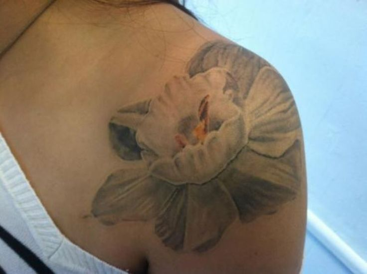 Narcissus Flower Tattoo on Shoulder