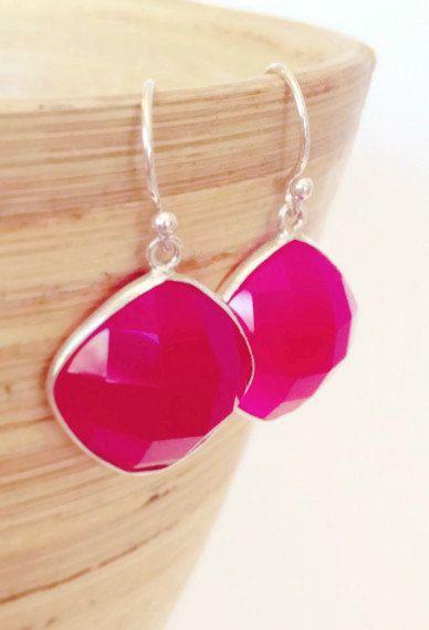 Magenta Stone Earrings Bright Pink stone Earrings Pink by AinaKai