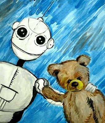 Baby Boy Nursery Art, Baby Boy Decor, Robot & Taddy Bear, Drawing