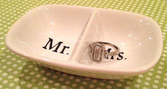 Mr.  Mrs. White Ceramic Ring Holder by ShineHandmadeGoods on Etsy, $10.00