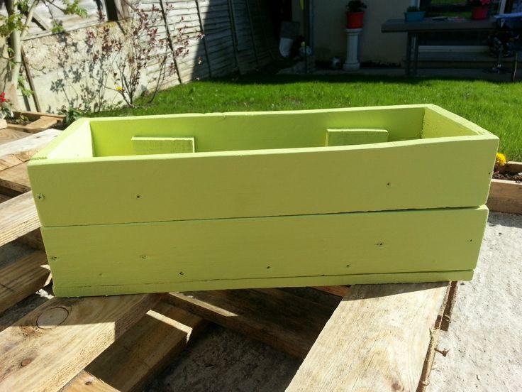 Jardiniere verte en bois de palette : Meubles et rangements par recycle-palette-77