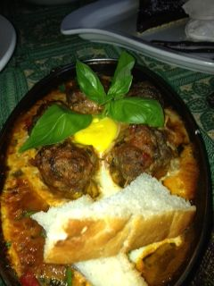Cumin beef kofta balls in a spiced tomato sauce & topped with a sunny side up egg #Bombaybicycle