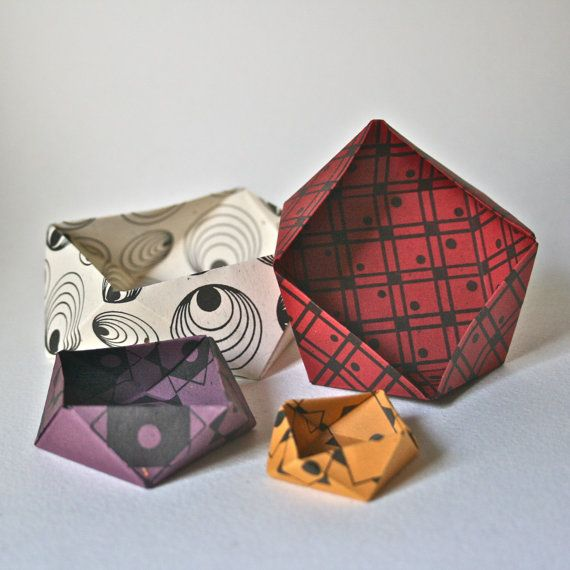 Origami Bowl KitBold Color Geometric Designs by ReminiscencePapers, $5.00