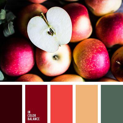 """""""пыльный"""" оранжевый, алый, бордовый, винный цвет, зеленый, изумрудно-зеленый, коричневый, красный, красный цвет яблока, насыщенные тона, нежный оранжевый, оттенки красного, подбор цвета."""