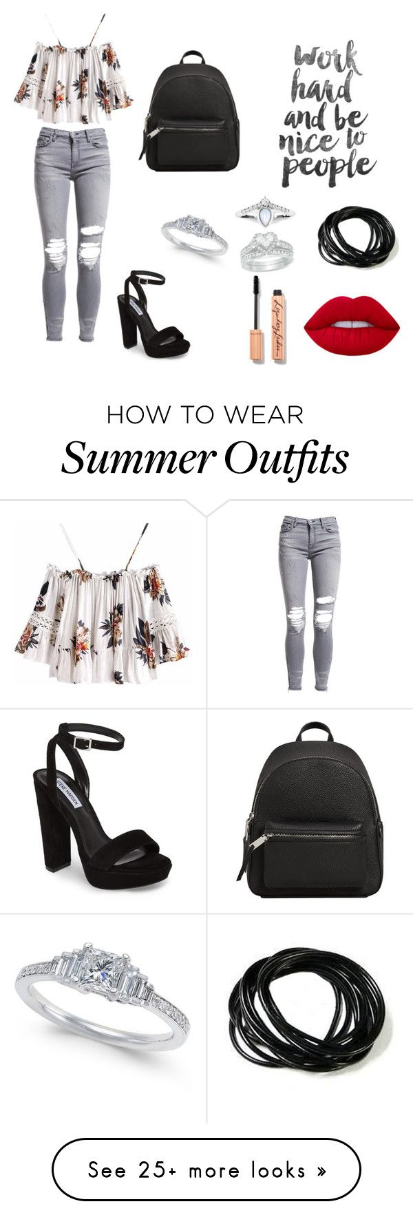 """""""Great Summer Look Outfit"""" by mionadervisevic on Polyvore featuring AMIRI, Steve Madden, MANGO and Lime Crime"""