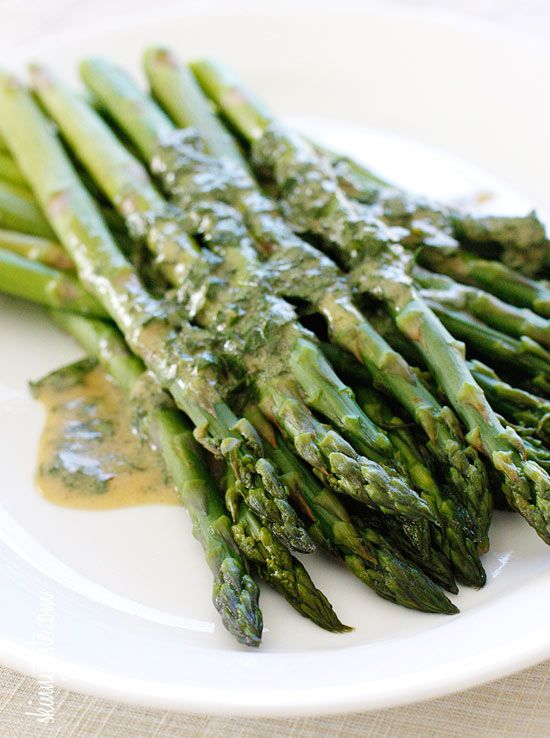 Asparagus with Dijon Vinaigrette - Serve it cold or room temperature, leftovers are wonderful chopped and mixed into a salad.